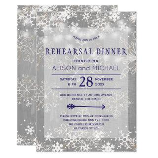 Crystal silver snowflakes winter rehearsal dinner Invitations