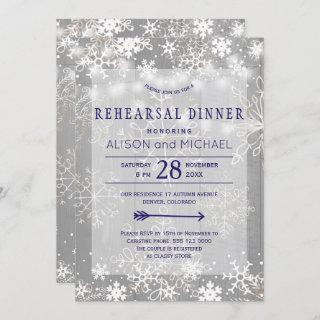 Crystal silver snowflakes winter rehearsal dinner invitation