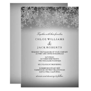 Crystal Snowflake Silver Winter Wedding Invitations