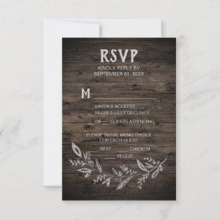 Curved Branches | Wooden Menu Choice RSVP Card