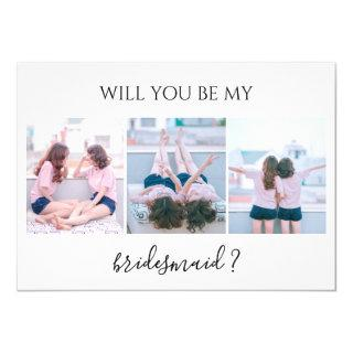 Custom 3 Photo Will You Be My Bridesmaid Card