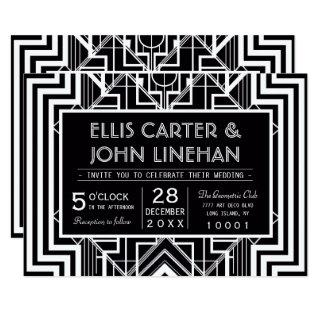 Custom Black Geometric Wedding Invitations