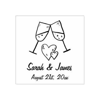Custom Champagne Hearts Names and Wedding Date Rubber Stamp