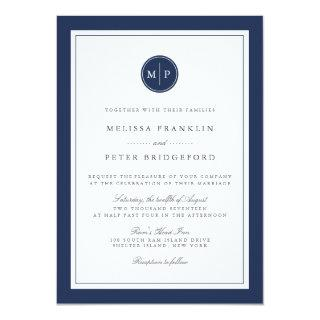 Custom Color Monogram Wedding Invitations