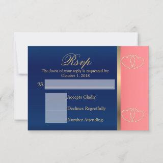 Custom - Coral & Navy Blue with Gold Hearts - RSVP