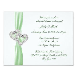 Custom Lime Hearts Rehearsal Dinner Invitations