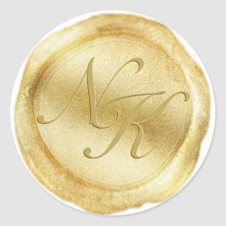 Custom Monogram Yellow Gold Wax Seal Sticker