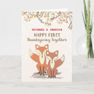 Custom Names Newlyweds 1st Thanksgiving Foxes Holiday Card