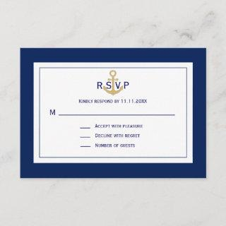 Custom Nautical Navy Blue Gold Anchor RSVP Wedding