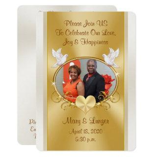 Custom Order for Mosley Wedding Gold and Off White Invitation