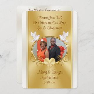 Custom Order for Mosley Wedding Gold and Off White Invitations