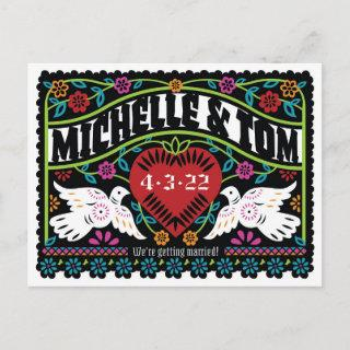 Custom Papel Picado Style Lovebirds Save the Date  Announcement Postcard