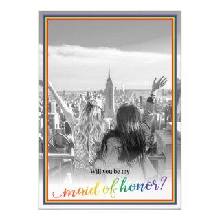Custom Photo Pride Will You Be My Maid of Honor Invitation
