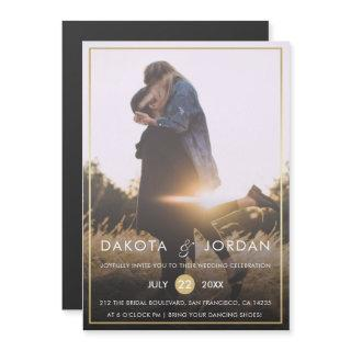 Custom Photo Wedding | Modern Typography & Gold Magnetic Invitations