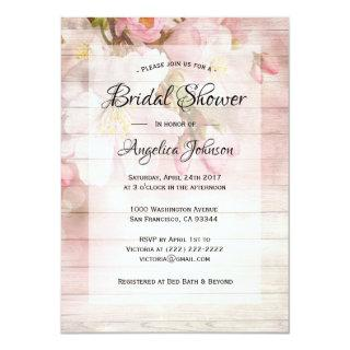 Custom Rustic Cherry Blossom Floral Bridal Shower Invitations