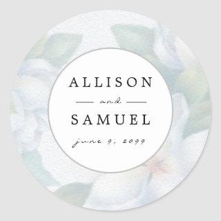 Custom Silver White Dogwood Blossoms Wedding Classic Round Sticker