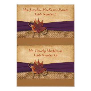 Cut Apart FAUX Burlap, Leaves Place Cards - Purple