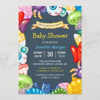 Cute Baby Shower Halloween Monsters Theme Invitations