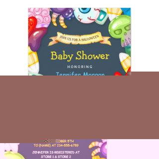 Cute Baby Shower Halloween Monsters Theme Invitation