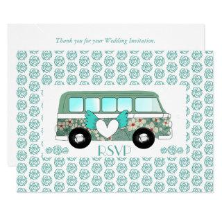 Cute Camper Van Wedding RSVP Invitation