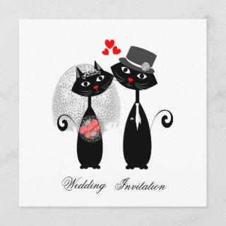 Cute Cats Hipster Bride And Groom Purrrfect! Invitation