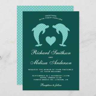 Cute Elegant Romantic Dolphins Wedding Invitation
