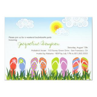Cute Flip Flops Fun In The Sun Bachelorette Party Invitations
