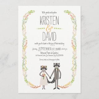Cute Forest Raccoons Rustic Wedding Invitation