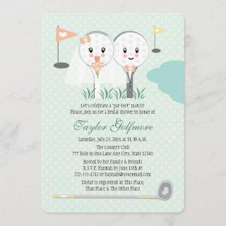 Cute Golf Ball and Tee Bride Groom Bridal Shower Invitation