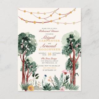 Cute Green Botanical Trees Floral Rehearsal Dinner Invitation Postcard