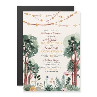 Cute Green Botanical Trees Floral Rehearsal Dinner Magnetic Invitations