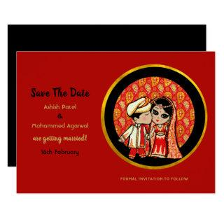 Cute Indian Wedding Save the Date Bride Groom Invitations