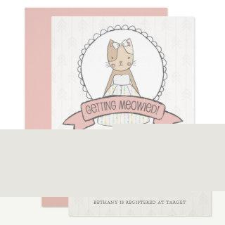 Cute Kitty Pink Ribbon Bridal Shower Invitations