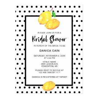 Cute Lemon Bridal Shower Polka Dots Watercolor Postcard