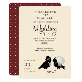 Cute Love Birds Bride And Groom Elegant Invitations