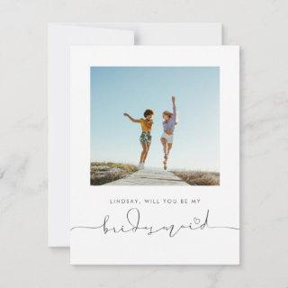 Cute Minimalist Will You Be My Bridesmaid Photo