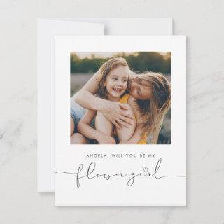 Cute Minimalist Will You Be My Flower Girl Photo