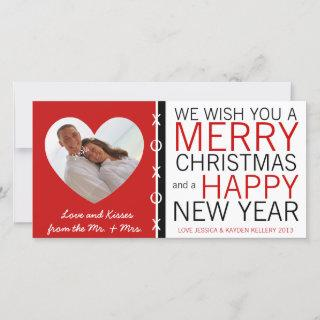 Cute Mr and Mrs Hugs and Kisses Photo Christmas Holiday Card