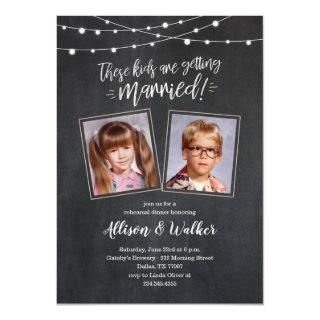 Cute Old Photos Rehearsal Dinner Invites - Lights