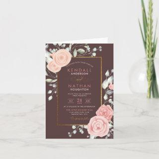 Cute Peach Watercolor Blooms Floral Wedding Invitations