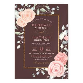 Cute Peach Watercolor Blooms Spring Wedding Magnetic Invitation