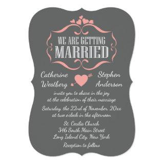 Cute Pink And Gray Wedding Hearts - Grey Invitation