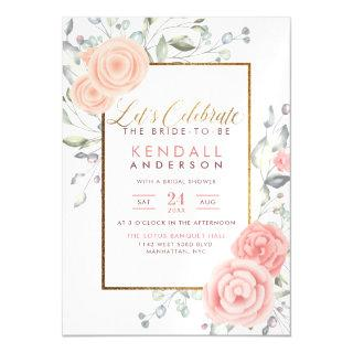 Cute Pink Aquarelle Blooms Spring Bridal Shower Magnetic Invitation