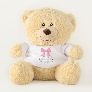 Cute Pink Ribbon Bow Be Our Flower Girl Proposal Teddy Bear