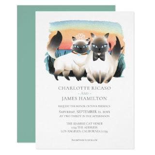 Cute Siamese Cat Couple Wedding Personalized Invitation