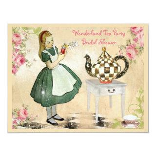 Cute Vintage Alice in Wonderland Bridal Shower Invitations