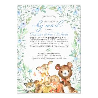 Cute Woodland Animals Greenery Baby Shower By Mail Invitations