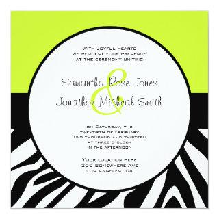 Cute Zebra Print Custom Lime Green Custom Wedding Invitations