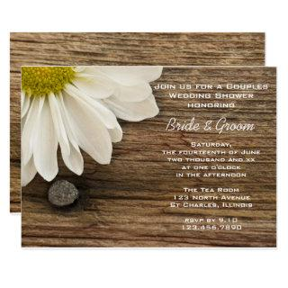 Daisy and Barn Wood Country Couples Wedding Shower Invitations