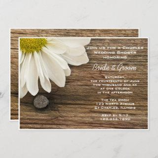 Daisy and Barn Wood Country Couples Wedding Shower Invitation